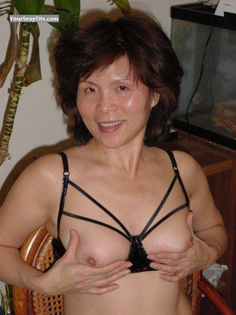 Tit Flash: Medium Tits - Topless Ming from United States